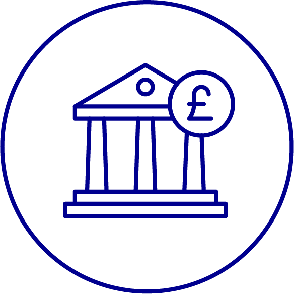 bank icon with pound sign