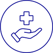 Icon of hand with heathcare cross in it.
