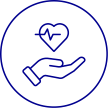 Icon of hand with heart in it with heartline